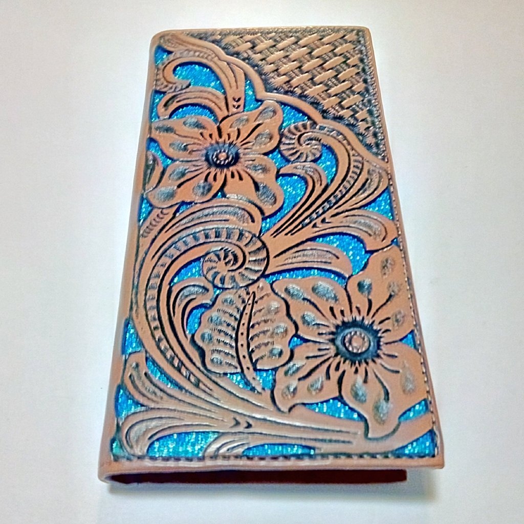 WESTERN CHECKBOOK BI FOLD MEN'S WALLET GENUINE LEATHER TAN/TURQUOISE FRONT FLORAL EMBOSSED--FREE SHIPPING