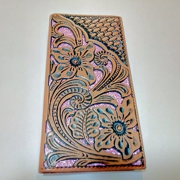 WESTERN CHECKBOOK BI FOLD WOMEN'S WALLET & MEN'S WALLET GENUINE LEATHER TAN/PINK FRONT FLORAL EMBOSSED
