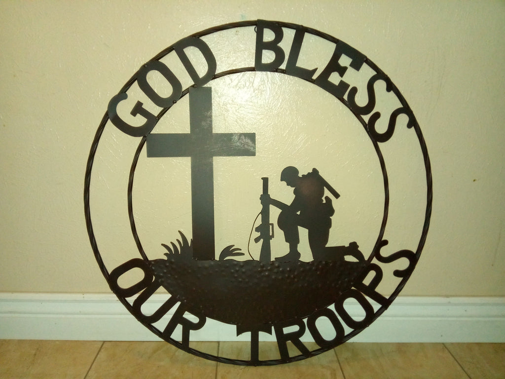 "24"", 32"" GOD BLESS OUR TROOPS PRAYING SOLDIER MILITARY METAL WALL ART WESTERN HOME NEW"