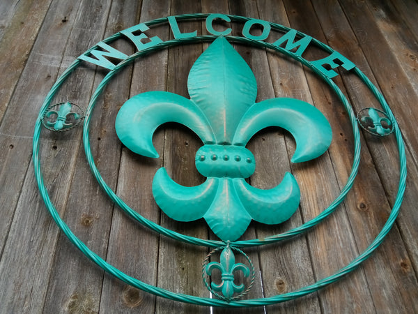 "32"" Fleur De Lis Metal Wall Art Western Home Decor Vintage Rustic Turquoise Art New"