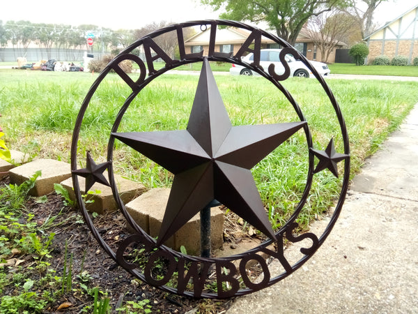 "DALLAS COWBOYS RUSTIC BROWN LONE STAR METAL ART WESTERN HOME WALL DECOR, SIZE:24"",32"",36"",40"",42"",44"",46"",50"""