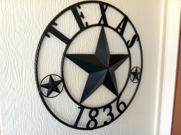 "24"", 32"", 36"", 40"", 50"" RUSTIC BLACK TEXAS 1836 BARN STAR METAL ART WESTERN HOME DECOR VINTAGE RUSTIC BLACK"