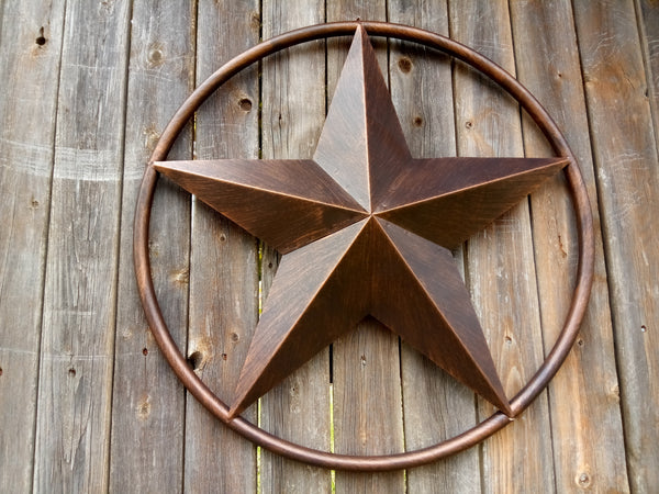 "24"", 32"" RUSTIC BROWN BARN LONE STAR WITH SOLID RING METAL ART WESTERN HOME DECOR BROWN"