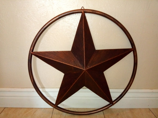 "32"" RUSTIC BROWN WITH SOLID RING METAL WALL ART WESTERN HOME DECOR VINTAGE RUSTIC DARK BROWN NEW"