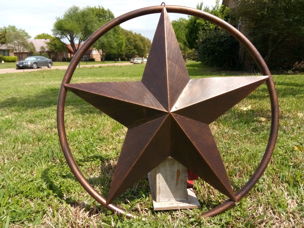 "24"" BARN LONE STAR WITH SOLID RING METAL WALL ART WESTERN HOME DECOR VINTAGE RUSTIC DARK BRONZE COPPER NEW"