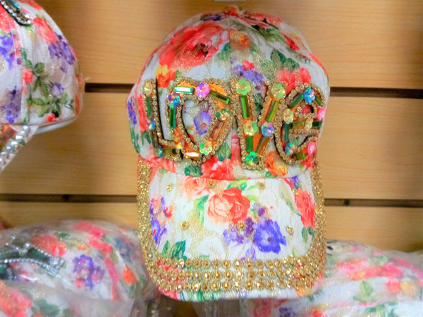 """LOVE"" BEADED BLING RHINESTONE COLORFUL WOMEN'S & GIRL CAP - ""LOVE"" WESTERN SUMMER FASHION ART BRAND NEW-- Free Shipping"
