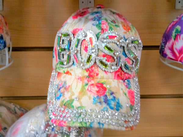 """BOSS"" BEADED BLING RHINESTONE COLORFUL WOMEN'S & GIRL CAP - WESTERN SUMMER FASHION ART BRAND NEW -- Free Shipping"