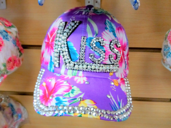 """KISS"" BEADED BLING RHINESTONE COLORFUL WOMEN'S & GIRL CAP - WESTERN SUMMER FASHION ART BRAND NEW--Free Shipping"