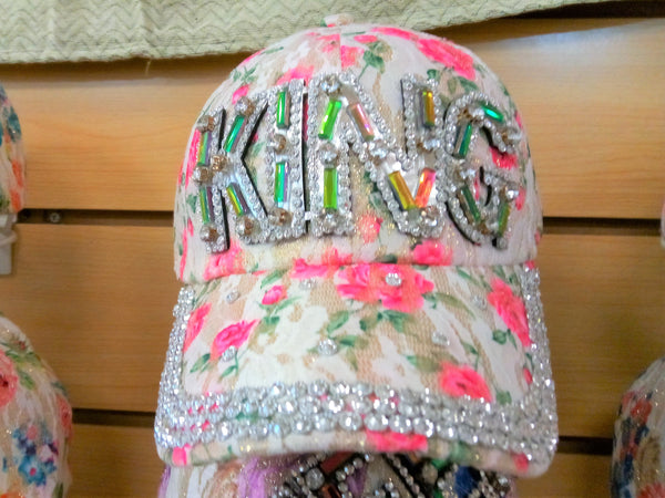 """KING"" BEADED BLING RHINESTONE COLORFUL WOMEN'S & GIRL CAP - WESTERN SUMMER FASHION ART BRAND NEW--Free Shipping"
