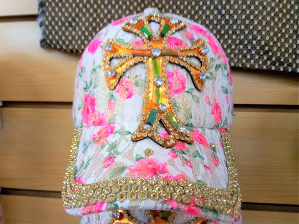 CROSS BEADED BLING RHINESTONE COLORFUL WOMEN'S & GIRL CAP - WESTERN SUMMER FASHION ART BRAND NEW