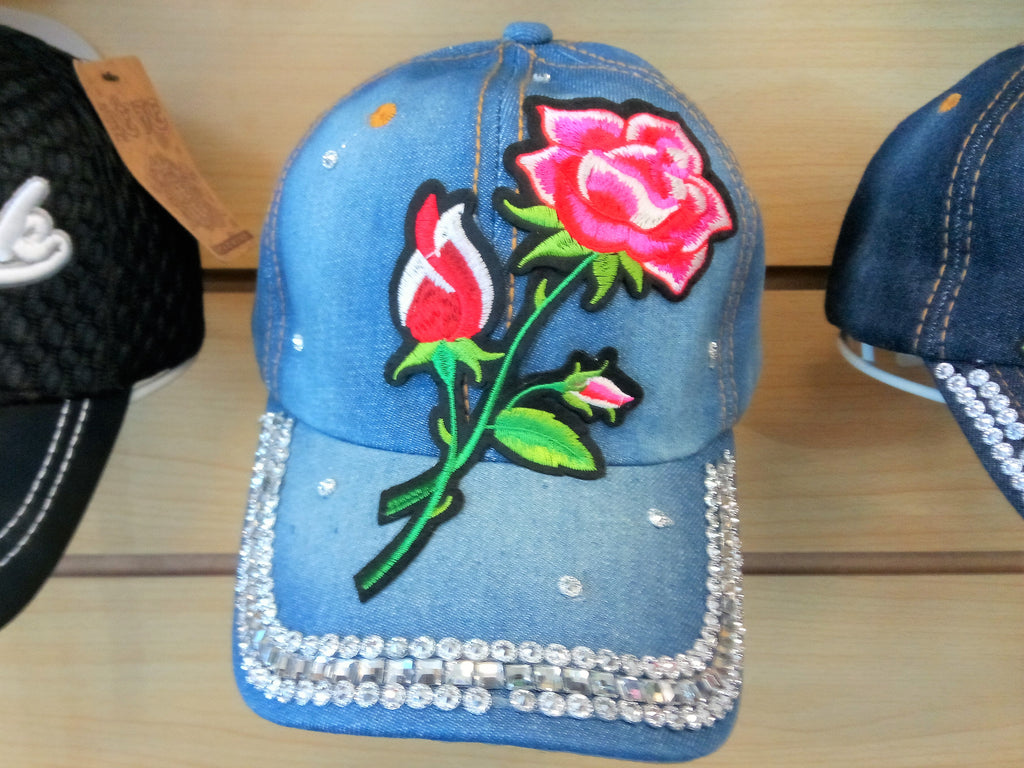 ROSE BEADED BLING RHINESTONE DENIM WOMEN'S & GIRL CAP