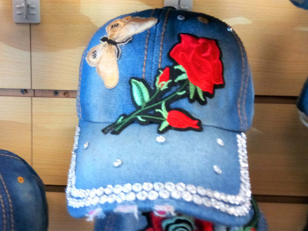 Copy of ROSE BEADED BLING RHINESTONE DENIM WOMEN'S & GIRL CAP - WESTERN SUMMER FASHION ART BRAND NEW