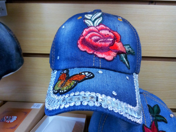 ROSE BEADED BLING RHINESTONE DENIM WOMEN'S & GIRL CAP - WESTERN SUMMER FASHION ART BRAND NEW--FREE SHIPPING