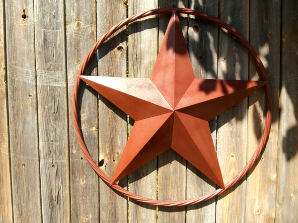 "24"", 32"", 38"", 48"" ORANGE COPPER BARN LONE STAR WITH TWISTED ROPE RING DESIGN METAL WALL ART WESTERN HOME DECOR VINTAGE RUSTIC ORANGE COPPER NEW"