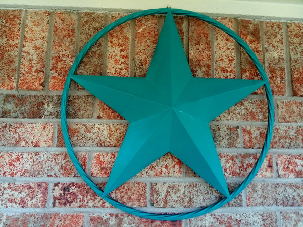 "24"", 32"", 38"", 48"" TEAL BARN LONE STAR WITH TWISTED ROPE RING DESIGN METAL WALL ART WESTERN HOME DECOR VINTAGE RUSTIC TEAL NEW"