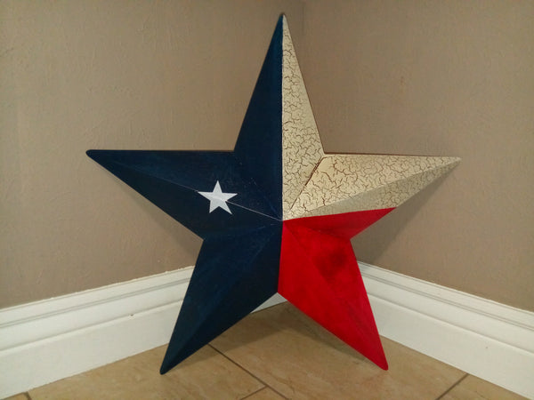 "9"", 24"" TEXAS FLAG RED WHITE & BLUE METAL BARN STAR METAL WALL ART WESTERN HOME DECOR NEW"