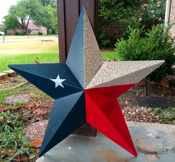 "24"" TEXAS FLAG RED WHITE & BLUE METAL BARN STAR METAL WALL ART WESTERN HOME DECOR NEW"