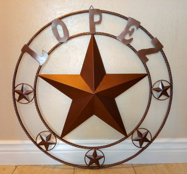 "24"", 32"", 36"", 40"", 44"", 46"", 50"" CUSTOM NAME BARN STAR WITH TWISTED ROPE RING DESIGN METAL WALL ART WESTERN HOME DECOR VINTAGE RUSTIC BROWN NEW HANDMADE"