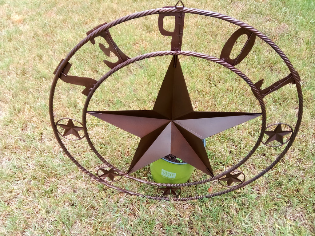 CUSTOM NAME BARN STAR WITH TWISTED ROPE RING DESIGN METAL WALL ART ...