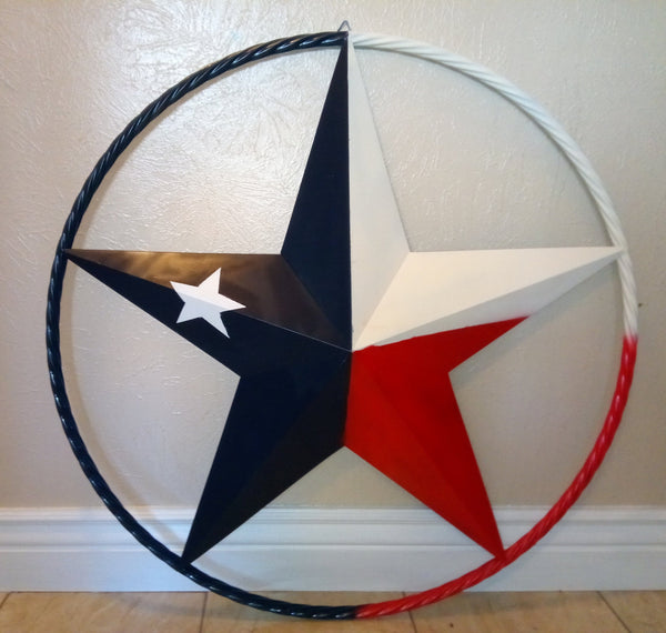 "12"", 16"", 24"", 32"", 38"", 48"", 60"", RED WHITE BLUE BARN META STAR WITH TWISTED ROPE RING WESTERN HOME DECOR METAL ART VINTAGE RUSTIC RED WHITE & BLUE ART"