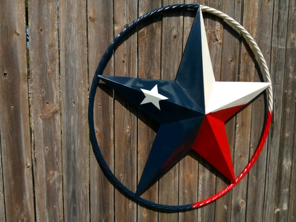 "48"" TEXAS FLAG BARN LONE STAR WITH LARGE TWISTED ROPE RING METAL VINTAGE RUSTIC ART"