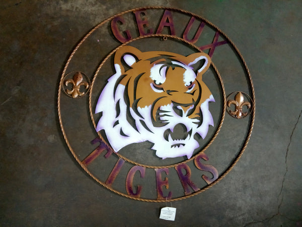 "32"" LSU TIGERS DECOR METAL ART WESTERN HOME WALL DECOR NEW BRONZE LARGE SIZE"