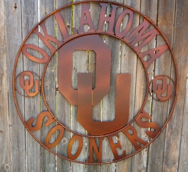 "36"" OU SOONERS OKLAHOMA METAL ART WESTERN HOME WALL DECOR NEW BRONZE LARGE SIZE"