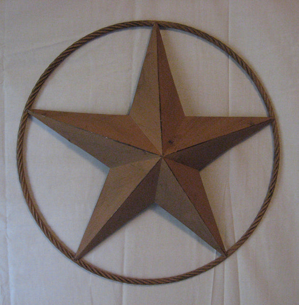 "48"" RUSTIC BEIGE BARN LONE STAR WITH LARGE TWISTED ROPE RING METAL ART VINTAGE RUSTIC BEIGE NEW"