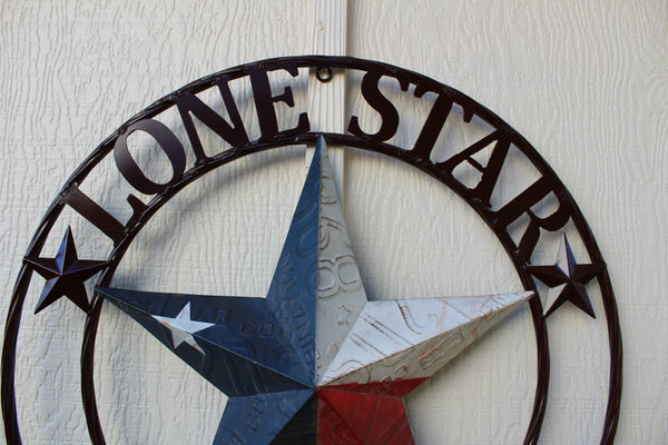 CUSTOM BARN STAR RED WHITE BLUE LONE STAR CUSTOM 3d STAR METAL NAME BARN STAR WITH TWISTED ROPE RING DESIGN METAL WALL ART WESTERN HOME DECOR VINTAGE RUSTIC RED WHITE BLUE NEW HANDMADE
