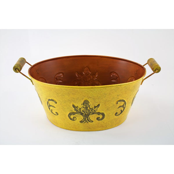 YELLOW COLOR DESIGNER BUCKET OVAL TUB WESTERN HOME DECOR METAL ART--BRAND NEW