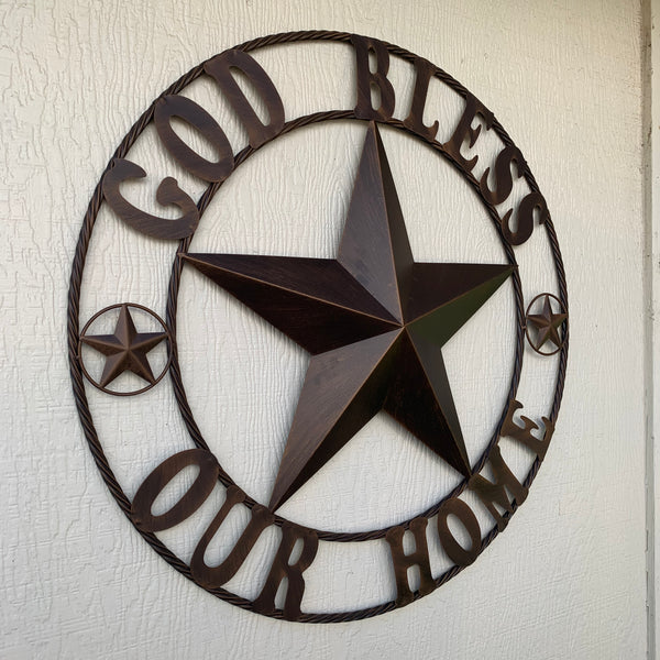 "18"",24"",32"",34"",36"",40"",42"",50"" GOD BLESS OUR HOME BARN METAL STAR ROPE RING WALL ART WESTERN HOME DECOR NEW BRONZE"