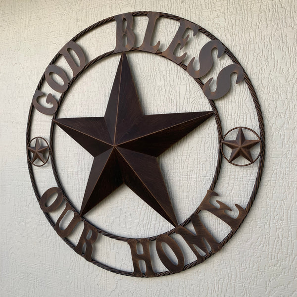 "24"",32"",40"",46"" GOD BLESS OUR HOME BARN STAR WITH TWISTED ROPE RING DESIGN METAL WALL ART WESTERN HOME DECOR VINTAGE RUSTIC DARK BRONZE COPPER NEW"