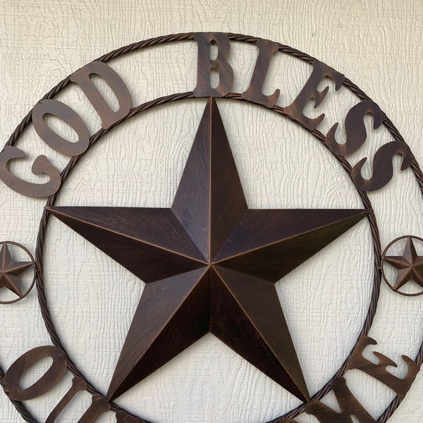 "18"",24"",32"",34"",36"",40"",46"",50"" GOD BLESS OUR HOME BARN METAL STAR ROPE RING WALL ART WESTERN HOME DECOR NEW BRONZE"