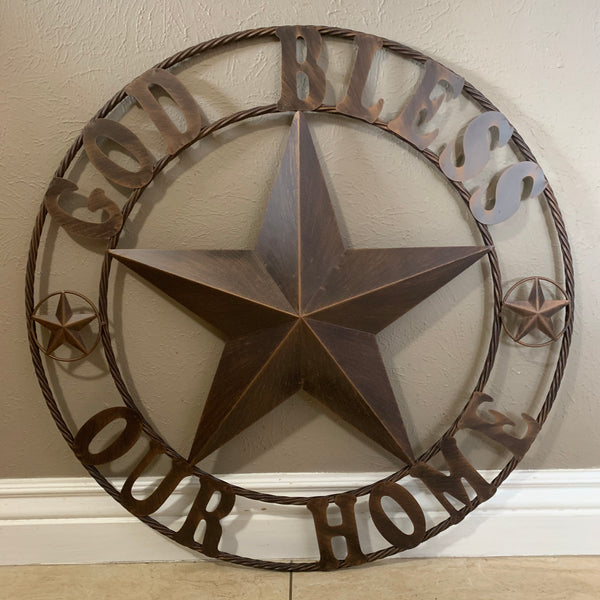 "32"",40"",46"" GOD BLESS OUR HOME BARN METAL STAR ROPE RING WALL ART WESTERN HOME DECOR NEW BRONZE"