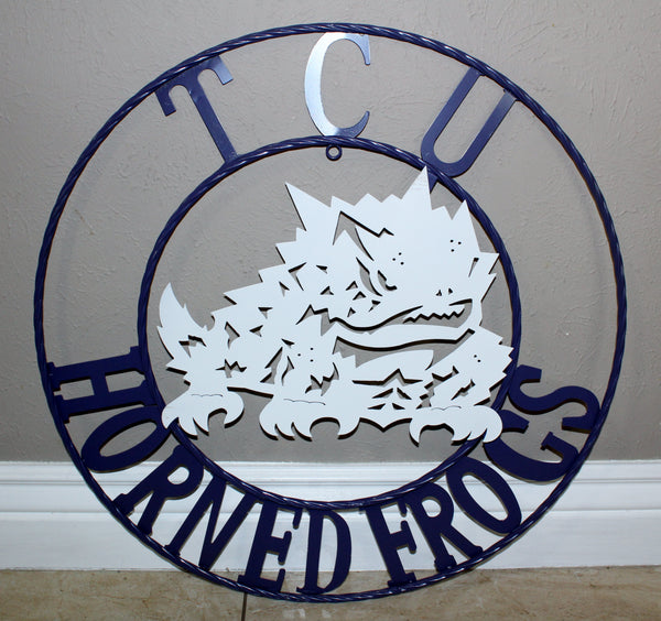 "12"", 18"", 24"", 32"" TCU HORNED FROGS METAL COLLEGE WESTERN HOME DECOR WALL ART, BRAND NEW#"