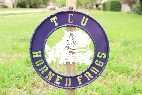 "12"" TCU HORNED FROGS METAL CUSTOM VINTAGE CRAFT WALL ART TEAM SIGN HANDMADE"