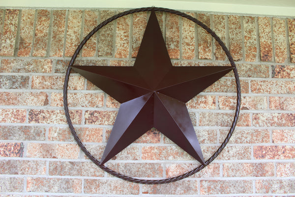 "24"", 32"", 38"", 48"" RUSTIC BROWN BARN LONE STAR WITH TWISTED ROPE RING DESIGN METAL WALL ART WESTERN HOME DECOR"