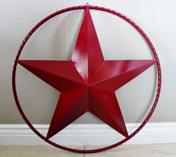 "12"", 16"", 24"", 32"", 38"", 40"", 48"" BURGUNDY RED BARN LONE STAR WITH TWISTED ROPE RING DESIGN METAL WALL ART WESTERN HOME DECOR BRAND NEW"