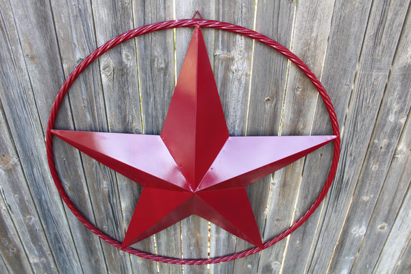 "12"", 16"", 24"", 32"", 38"", 48"" BURGUNDY RED BARN LONE STAR WITH TWISTED ROPE RING DESIGN METAL WALL ART WESTERN HOME DECOR BRAND NEW"