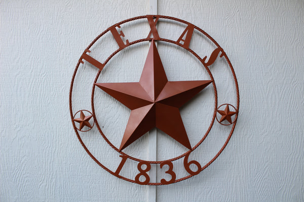 "24"", 32"", 36"", 40"", 44"", 50"" RUSTIC ORANGE COPPER TEXAS 1836 BARN STAR METAL ART WESTERN HOME DECOR VINTAGE NEW"