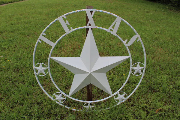 "24"", 32"", 36"", 40"", 44"", 50"" RUSTIC WHITE TEXAS BARN STAR METAL ART WESTERN HOME DECOR VINTAGE NEW"