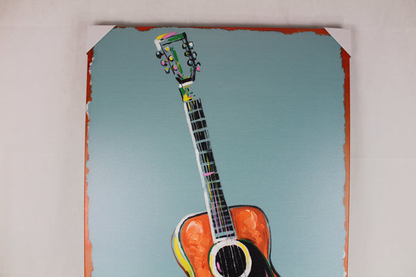 "GUITAR CANVAS PAINTING PICTURE WESTERN COUNTRY HOME DECOR HANDMADE WALL ART NEW SIZE: 28"" x 40"", Item#RA0152"