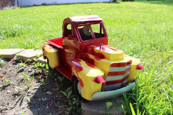 "24"" RED & YELLOW PICKUP TRUCK METAL ART FIGURINE OUTDOOR & INDOOR GARDEN WESTERN HOME DECOR HANDMADE NEW: 24""L X 12""W X 12"" H"
