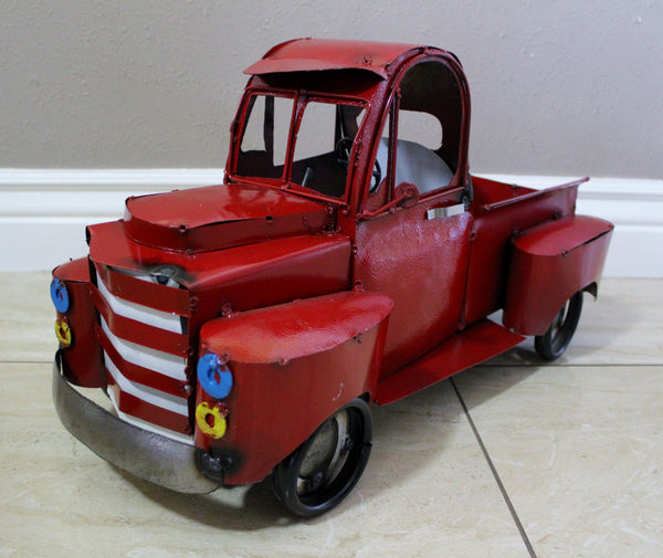 "RED PICKUP TRUCK METAL ART FIGURINE OUTDOOR & INDOOR GARDEN WESTERN HOME DECOR HANDMADE NEW: 24""L x 12""W x 12"" H"