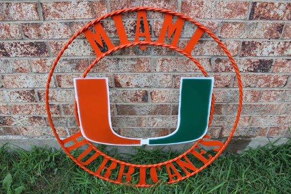 "12"", 18"", 24"", 32"" MIAMI HURRICANES METAL CUSTOM VINTAGE CRAFT OFFICIAL LICENSED PRODUCT"