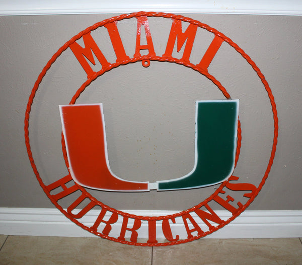 "12"", 18"", 24"", 32"" MIAMI HURRICANES METAL COLLEGE WALL ART WESTERN HOME DECOR BRAND NEW"