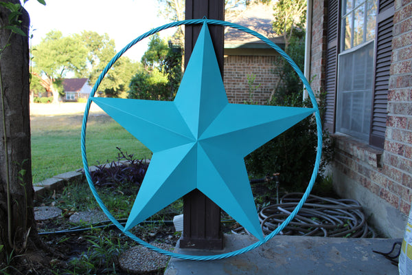 "24"", 32"", 38"", 48"" TURQUOISE BARN LONE STAR WITH TWISTED ROPE RING DESIGN METAL WALL ART WESTERN HOME DECOR VINTAGE RUSTIC TURQUOISE NEW"