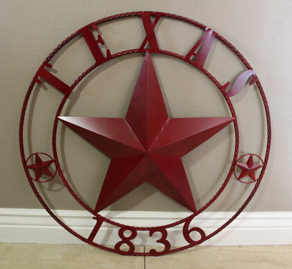 "RUSTIC BURGUNDY RED TEXAS BARN STAR METAL ART WESTERN HOME DECOR BRAND NEW, 24"", 32"", 36"", 40"", 44"", 50"""