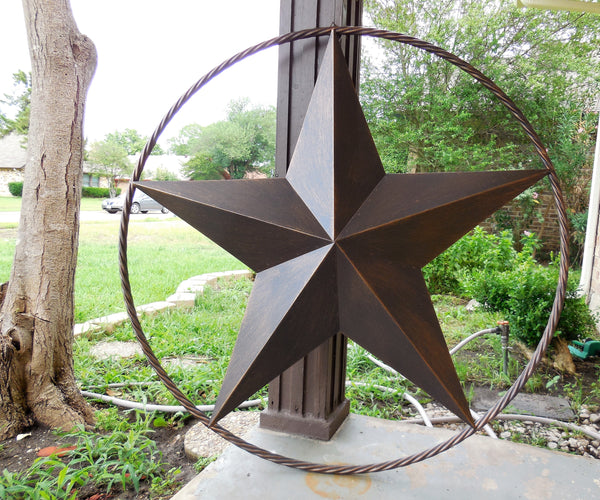 "12"",16"",24"",32"",34"", 36"",38"",40"",48"",60"",84"",96"" RUSTIC DARK BRONZE COPPER BARN LONE STAR WITH TWISTED ROPE RING METAL WALL ART WESTERN HOME DECOR VINTAGE RUSTIC DARK BRONZE NEW"