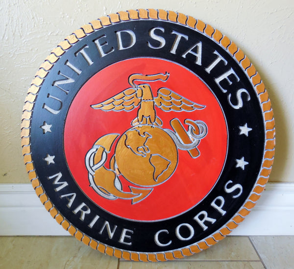 "21"" UNITED STATES MARINE CORPS MILITARY HAND CARVED WOOD PLAQUE ART CRAFT WESTERN HOME DECOR RUSTIC HANDMADE ART NEW"